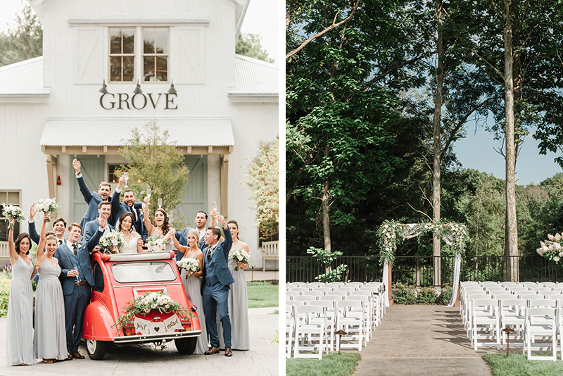 wedding party at briar barn inn and outdoor ceremony